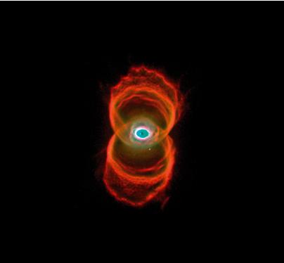 沙漏星云。这个星云乍一看一圈圈的形状其实是立体沙漏状的,只是它的顶部侧向了我们而已。距离:8000光年。尺度:0.3光年。版权:NASA, ESA和The Hubble Heritage Team (STScI/AURA)
