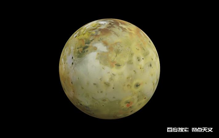 木卫一火山月亮Io的3D模型。图片来源:NASA可视化技术应用程序和开发(VTAD)