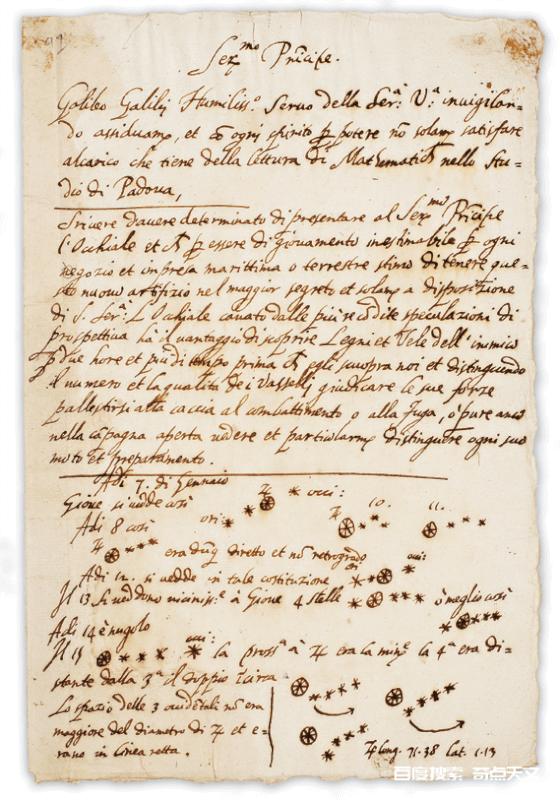 给威尼斯总督的莱昂纳多·多纳托的信草案,1609年8月,以及关于木星卫星的注释,1610年1月。图片来源:密歇根大学特别收藏图书馆