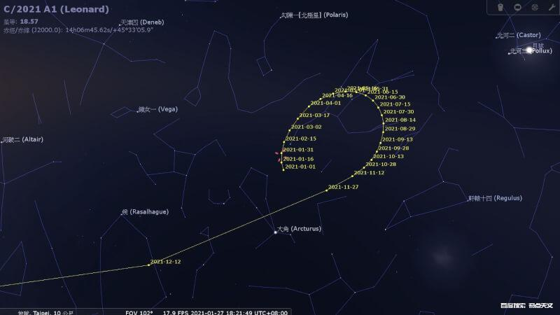 C/2021 A1(Leonard)将于12月成为2021年最明亮的彗星