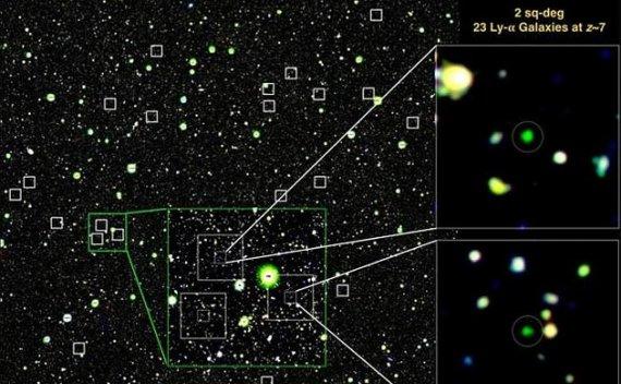 暗能量相机研究宇宙黎明时期:瞄准23个年轻星系