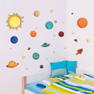 太阳系星球卧室背景墙贴纸